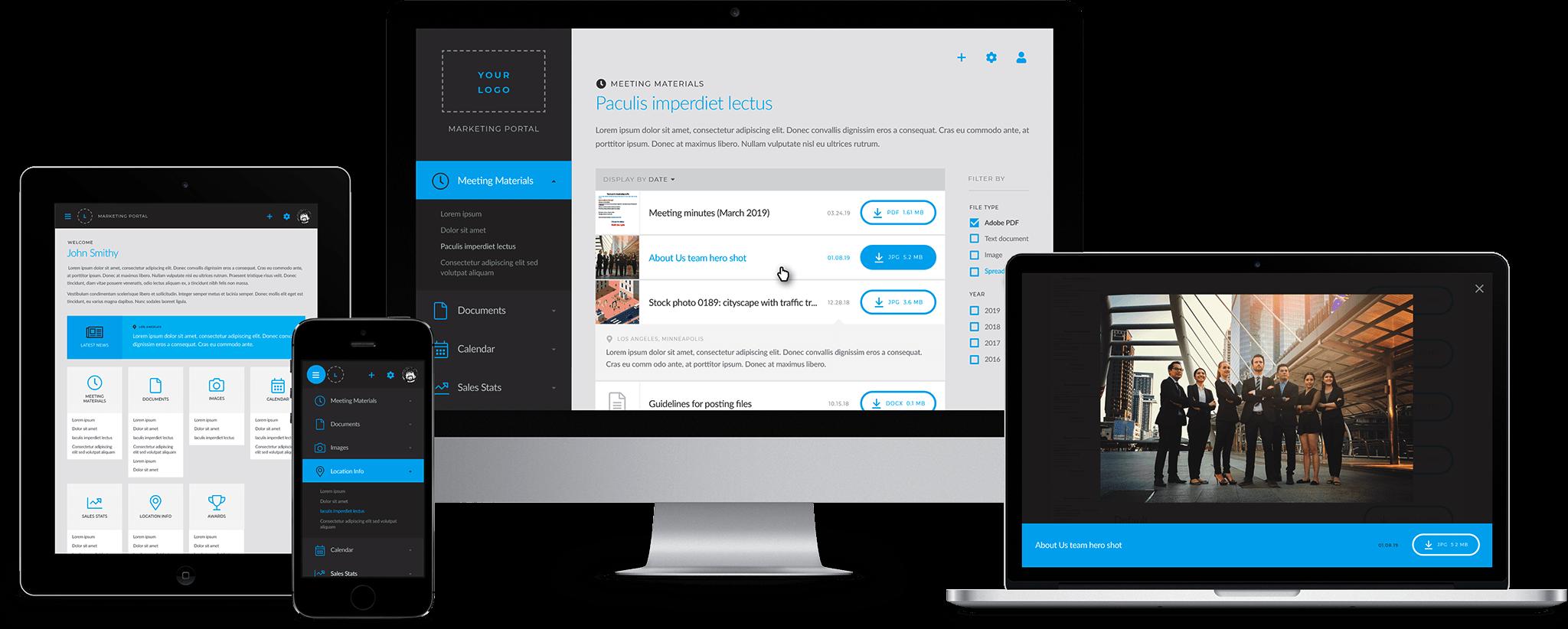 Web portal on desktop, laptop, tablet, and mobile