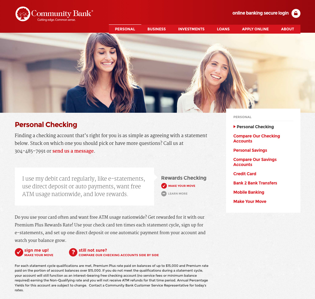 Community Bank website: Account Detail Page