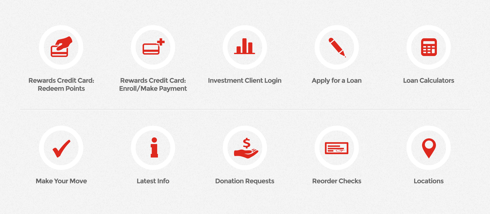 Community Bank website: homepage icons