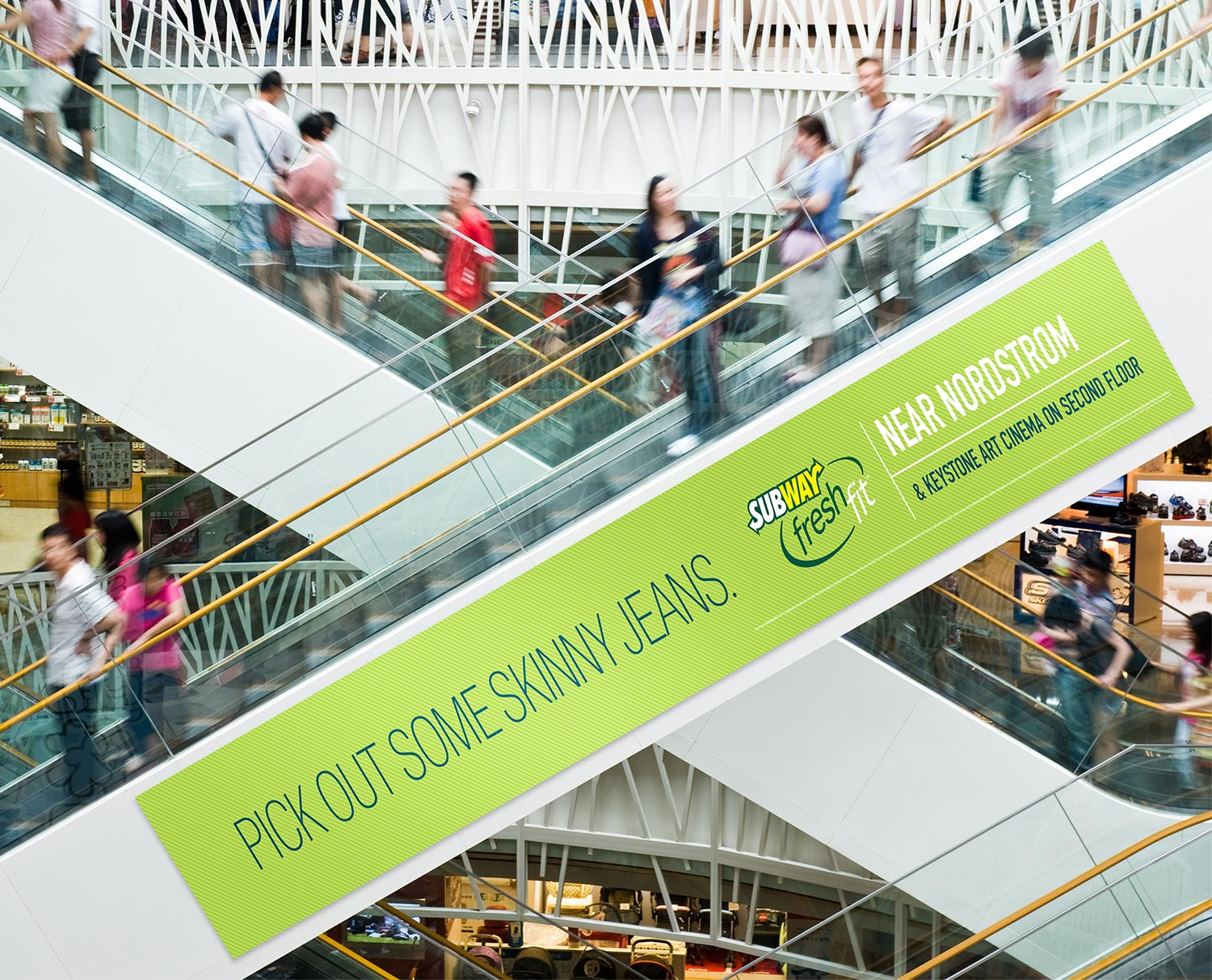 Subway, Out of Home & Print: Skinny Jeans Escalator Banner