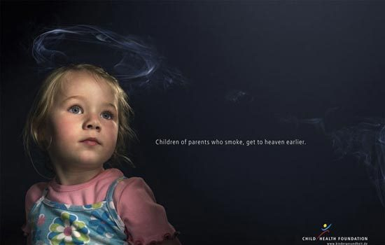 "Child Health Foundation – Advertising Agency: Serviceplan, Munchen/Hamburg, Germany: ""Children of Parents Who Smoke Get to Heaven Earlier"""