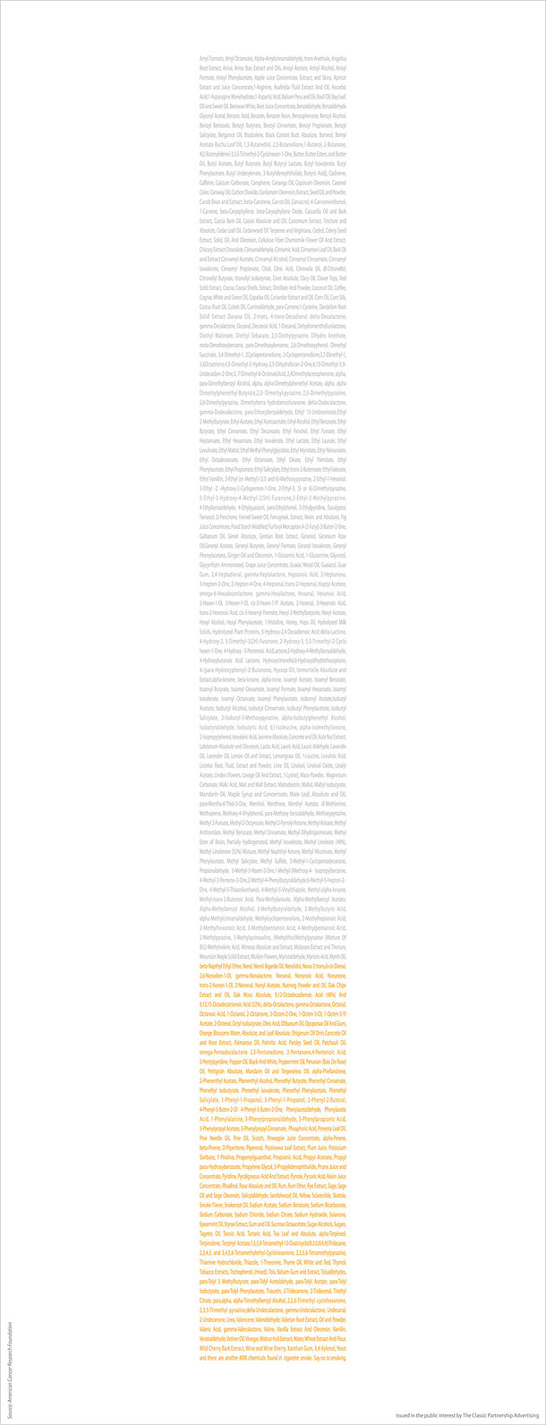 "Advertising Agency: The Classic Partnership Advertising, Riyadh, Saudi Arabia: ""…Xantham Gum, 3,4-Xylenol, Yeast and there are another 4000 chemicals found in cigarette smoke. Say no to smoking."""