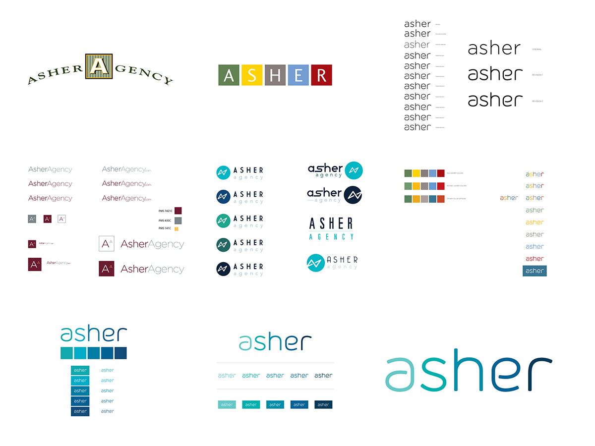 Different Versions of The Asher agency logo over time