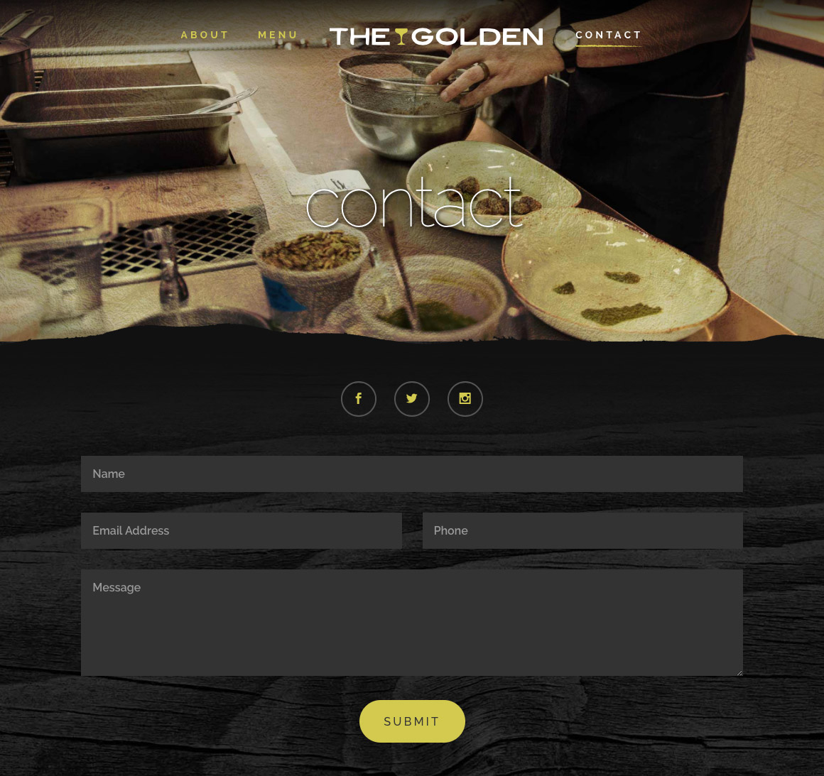 The Golden: website contact page