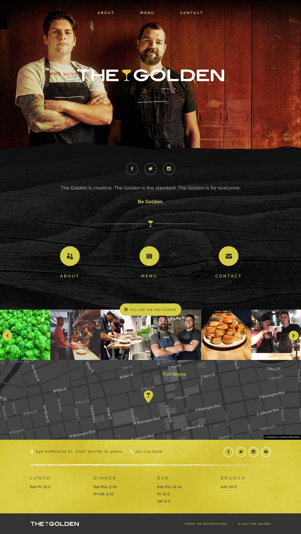 The Golden: website homepage