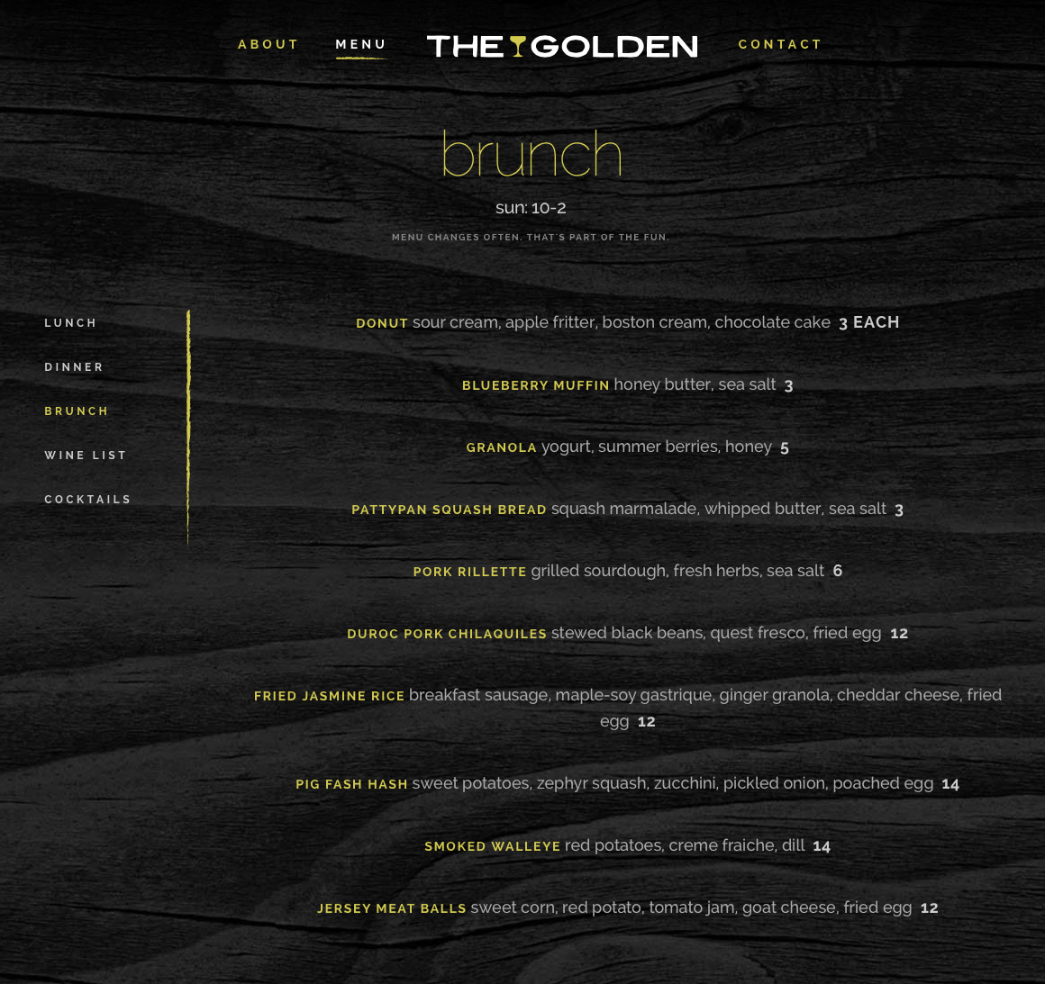 The Golden: website menu page