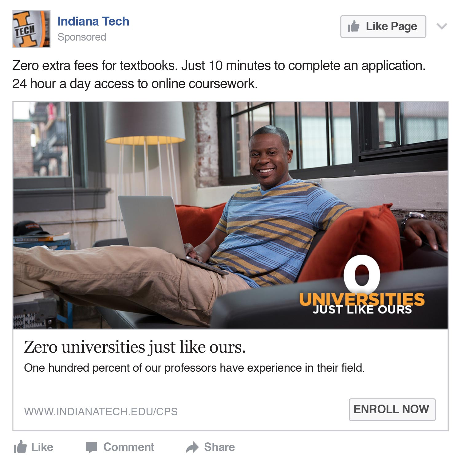 Indiana Tech: Zero Universities Like Ours Facebook ad
