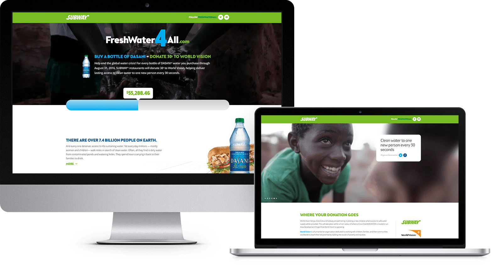 Subway: FreshWater4All landing page