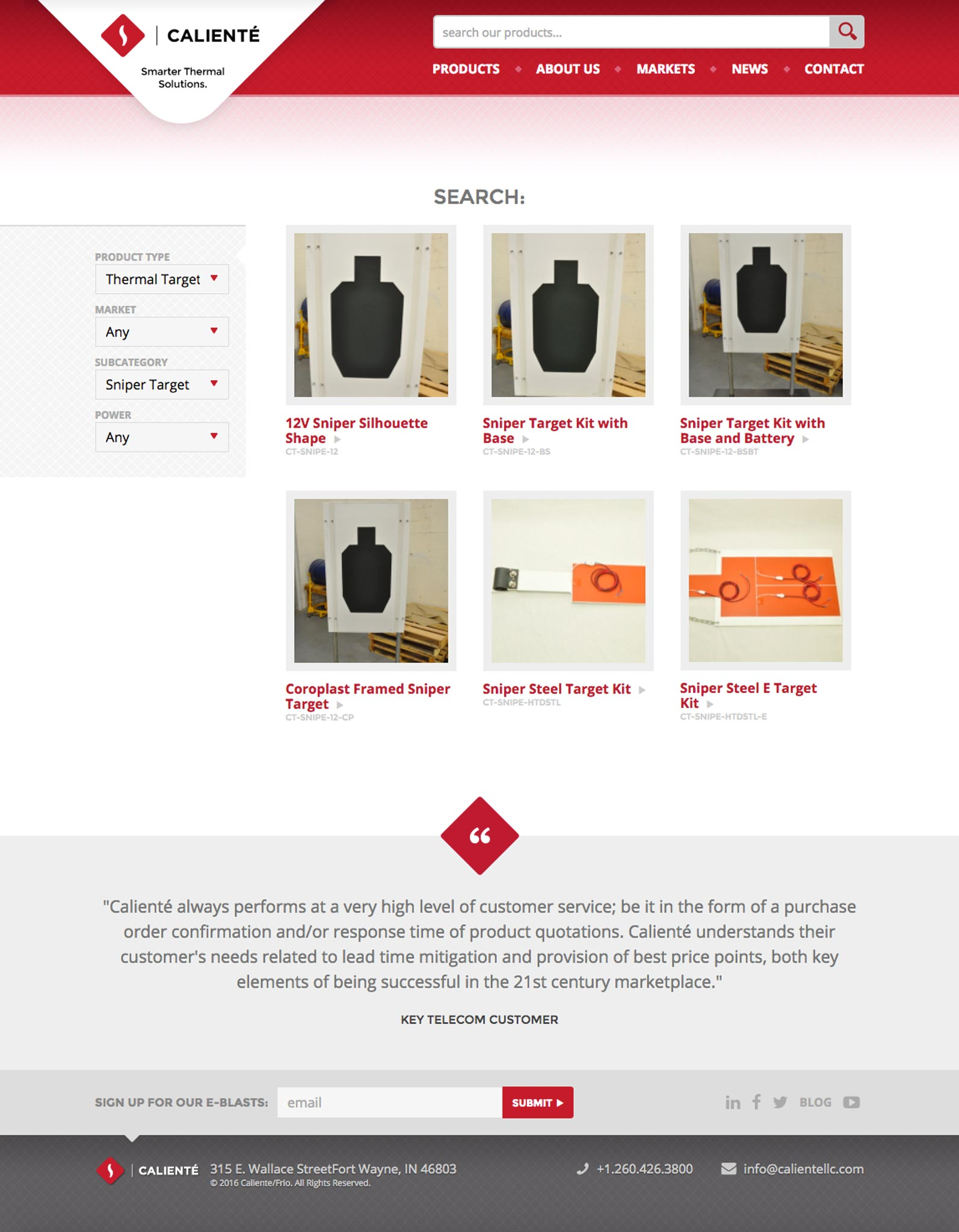 Caliente: Website Product Catalog