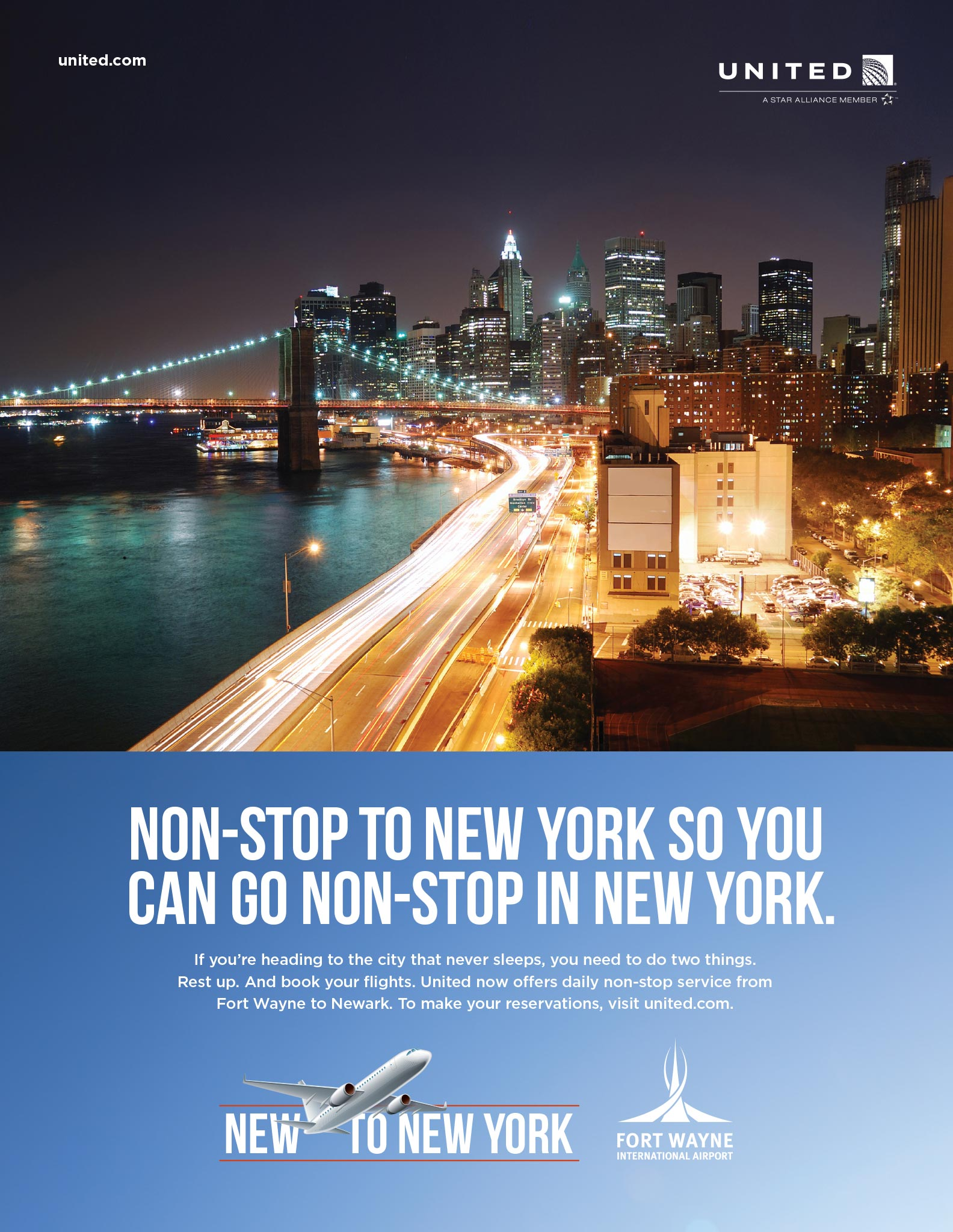 Fort Wayne International Airport, New to New York Print Ad