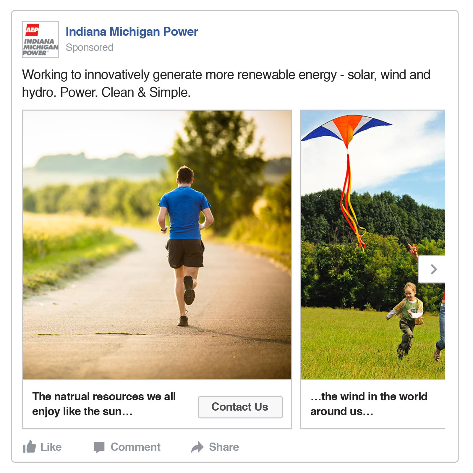 AEP Indiana Michigan Power, Facebook Campaign