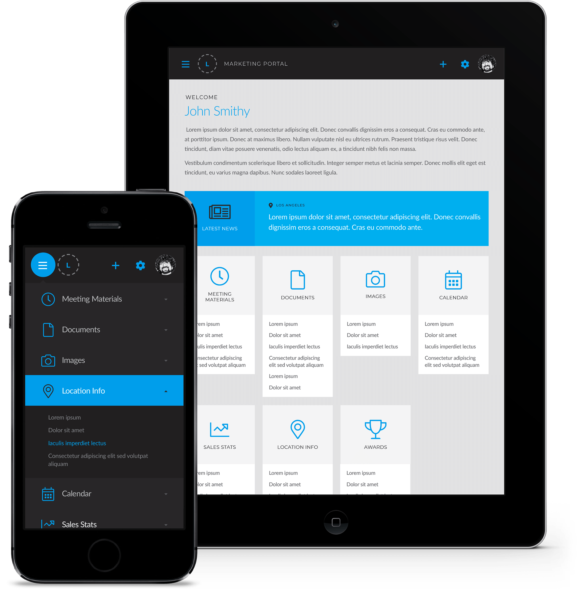 Web portal on mobile and tablet