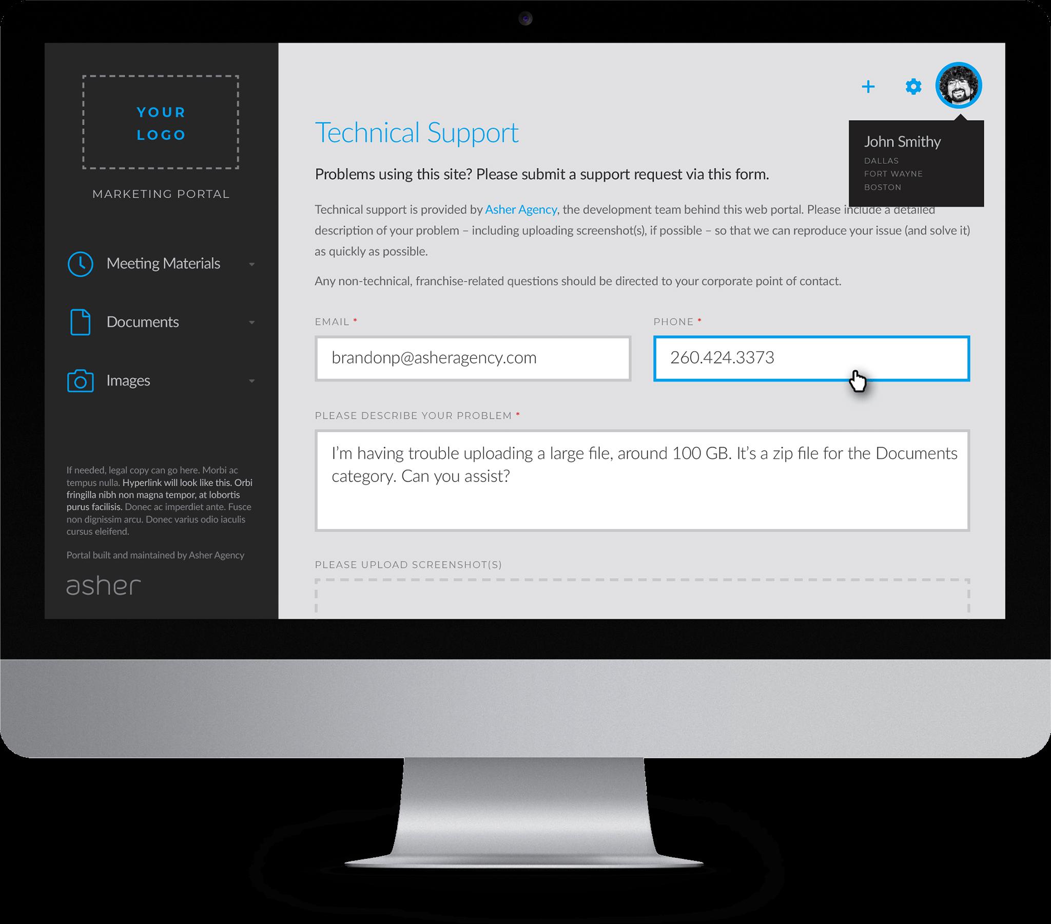Portal support form on desktop