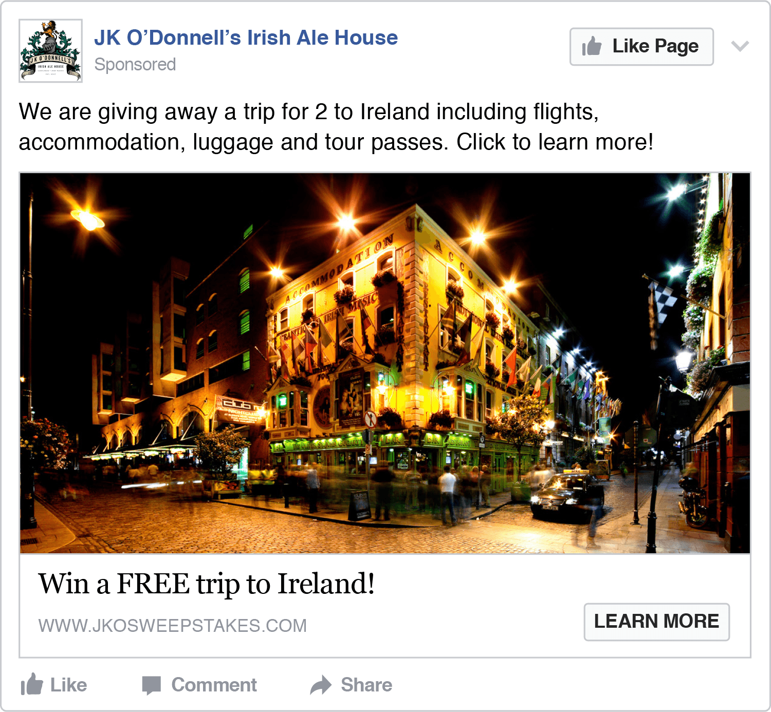 JK O'Donnell's, Passport to Ireland Sweepstakes Facebook Ad