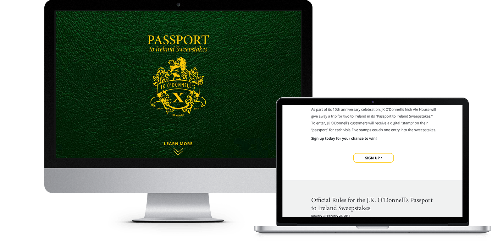 JK O'Donnell's, Passport to Ireland Sweepstakes Landing Page