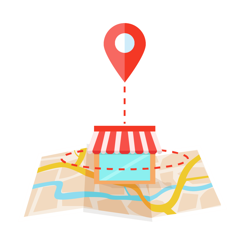 Location icon above storefront image to represent geotargeting