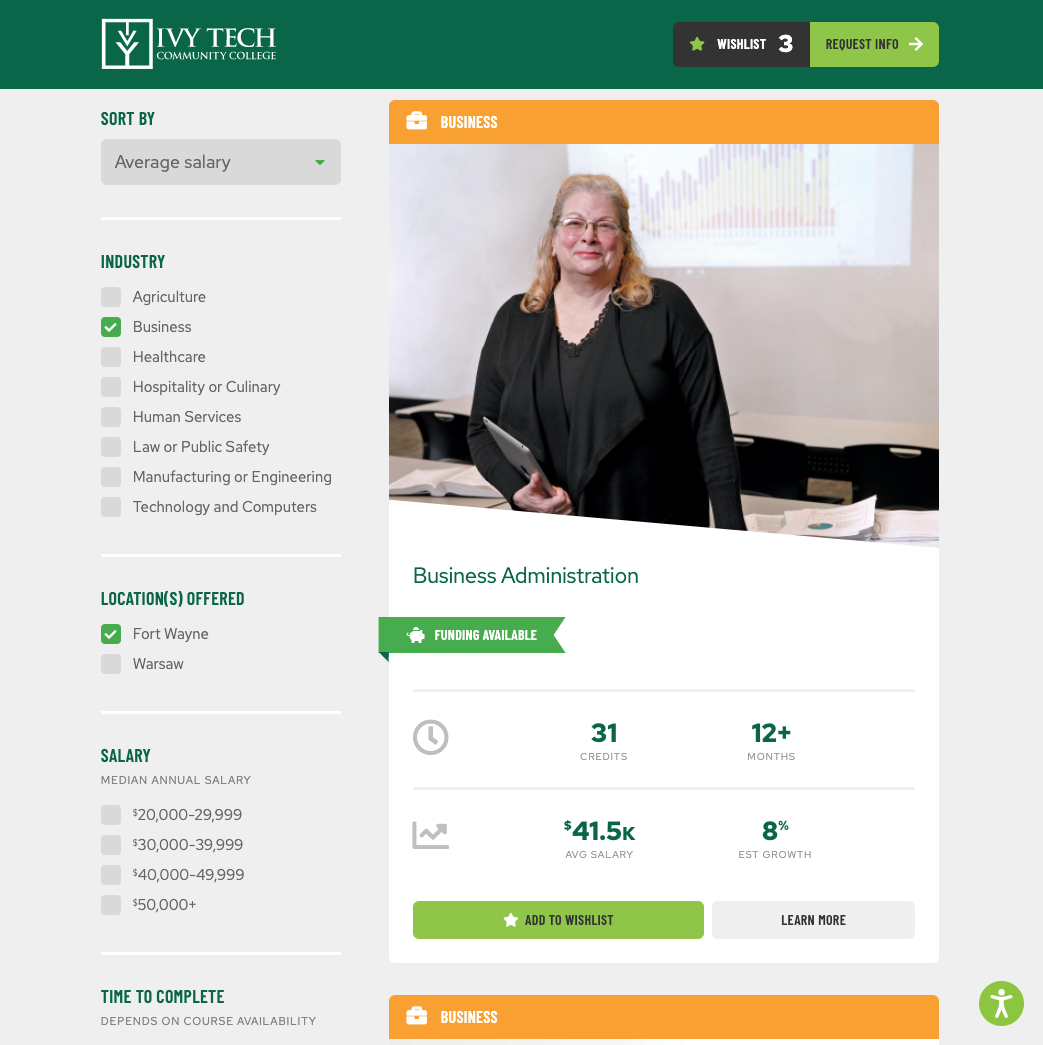 Ivy Tech Community College, Short-Term Certificates Microsite Example of Sorting Feature