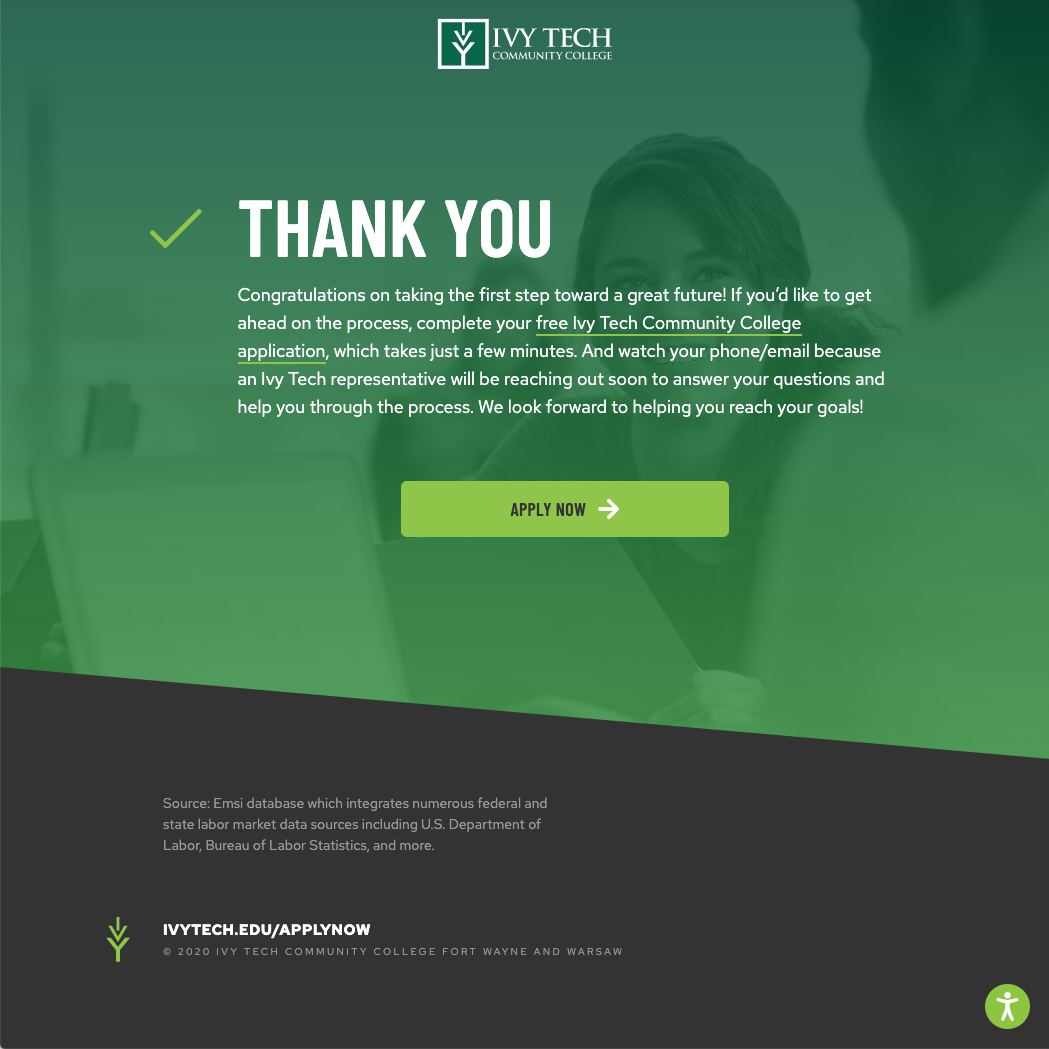 Ivy Tech Community College, Short-Term Certificates Microsite Thank You Message